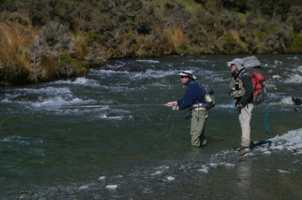 Two men Fly Fishing in Queenstown region