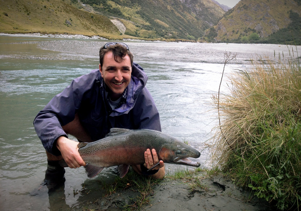 Man with captured trout Queenstown